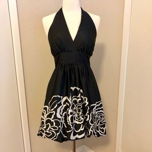 Beautiful black and cream flower halter dress